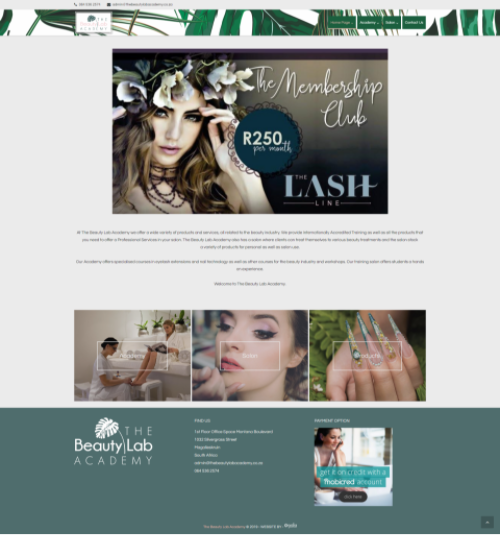 The Beauty Lab Academy Website